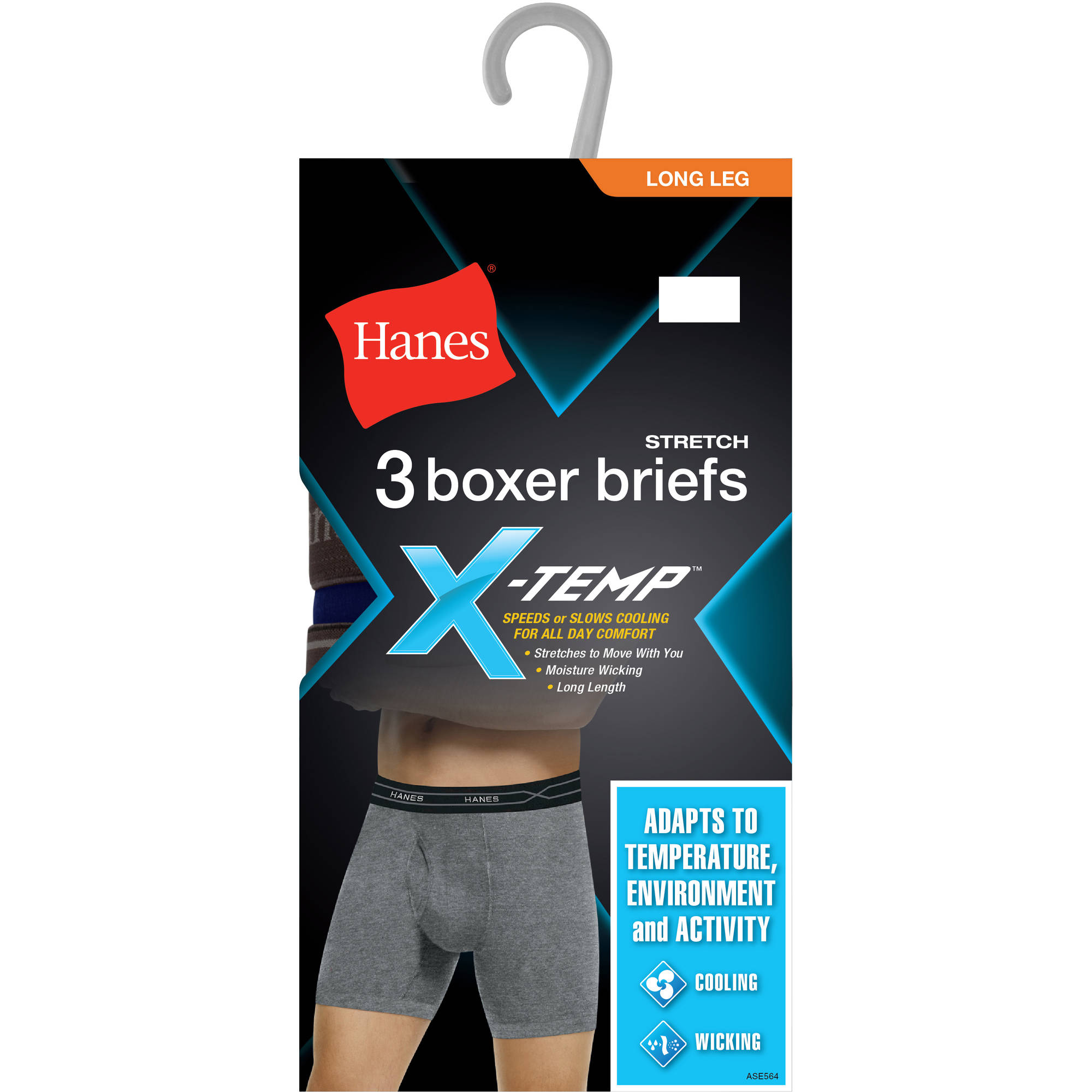 Hanes Big Men's Xtemp 3 Pack Long Leg Boxer Brief, 2XL