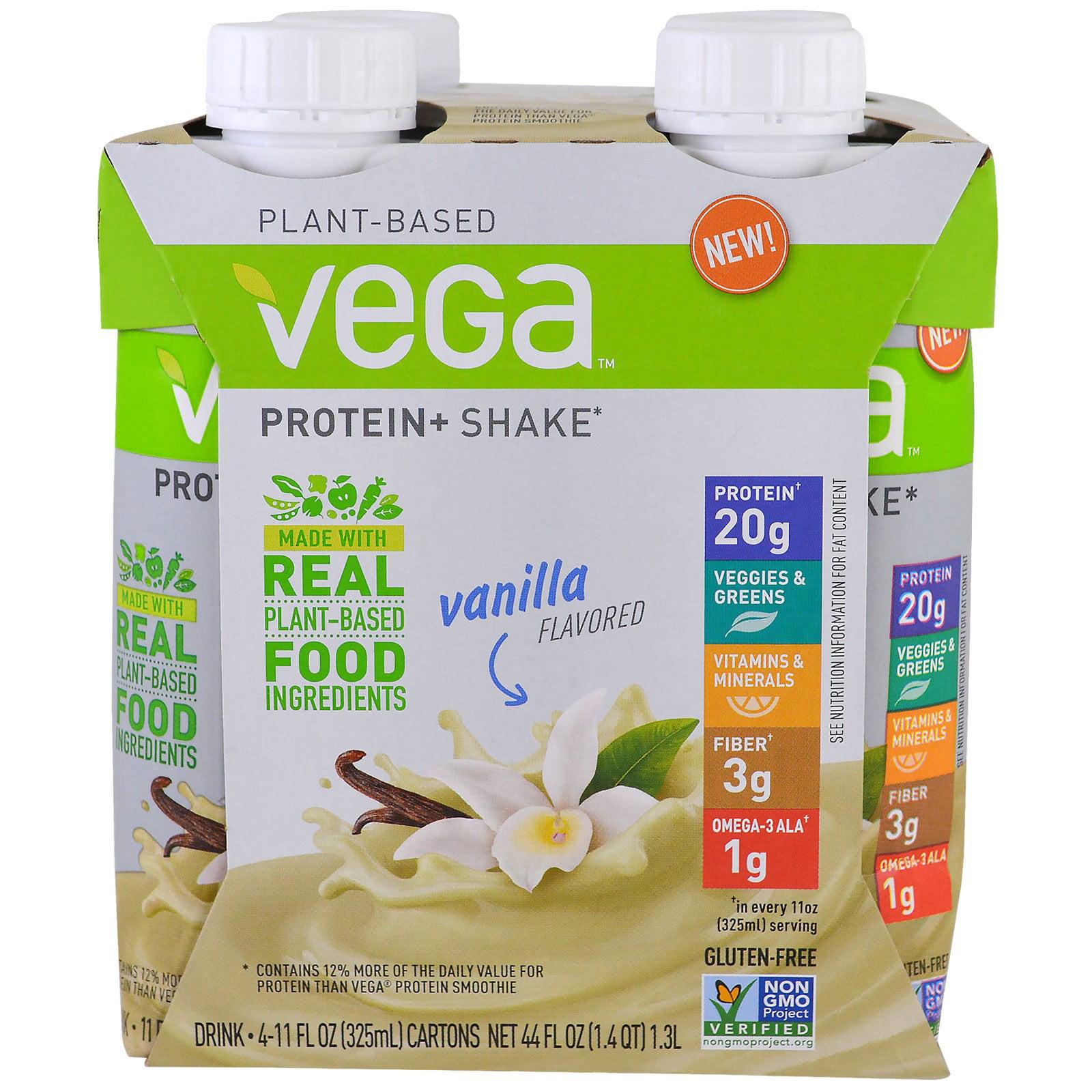 Vega Vegan Protein Shake, Vanilla, 20g Protein, 4 Ct