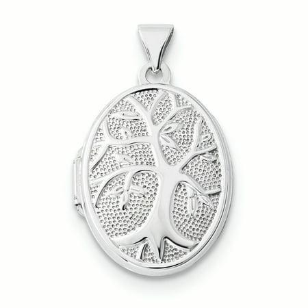 14K White Gold Tree Oval Locket Charm - Locket 14k Gold Charm