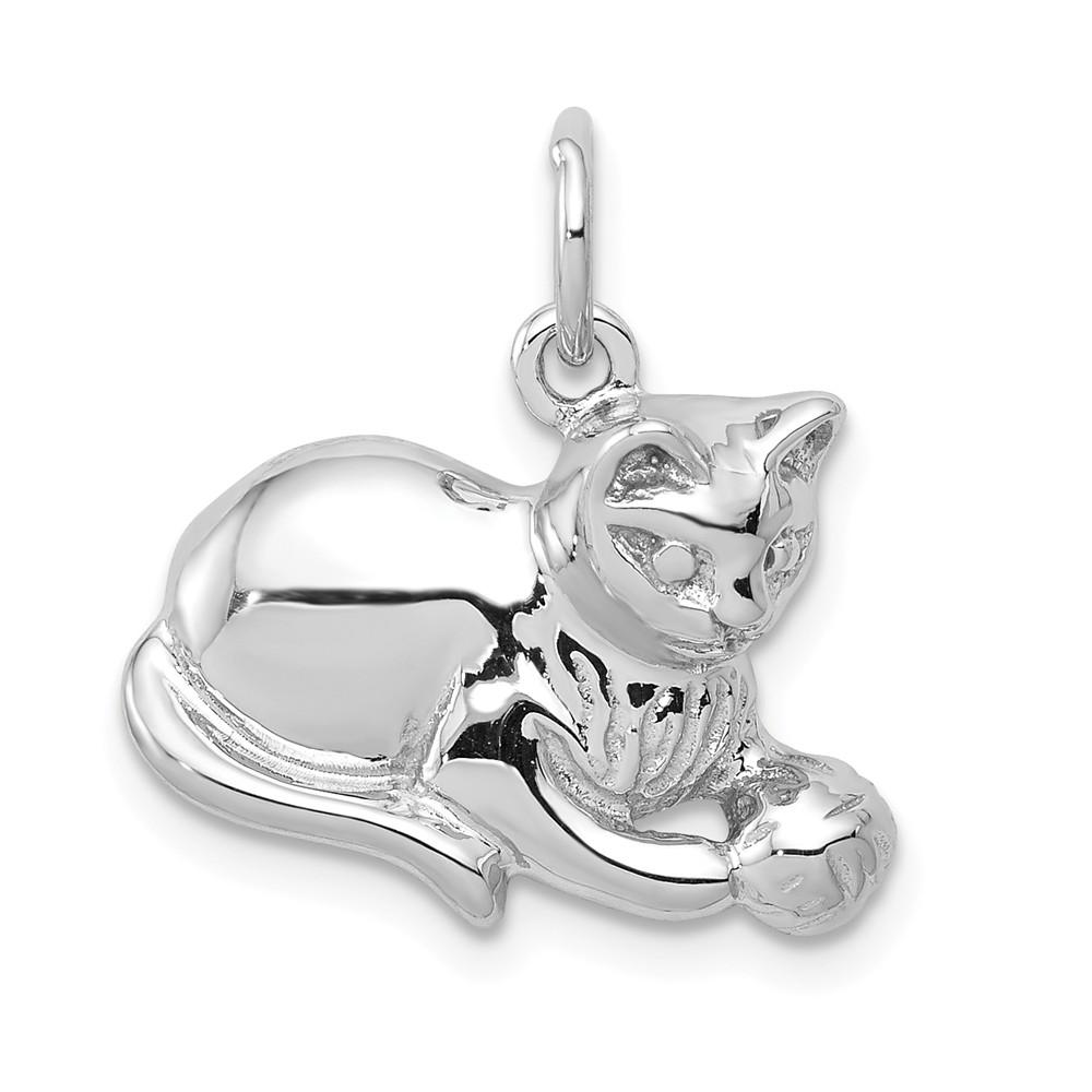 14k White Gold Diamond-cut Satin Open-Backed Cat Pendant