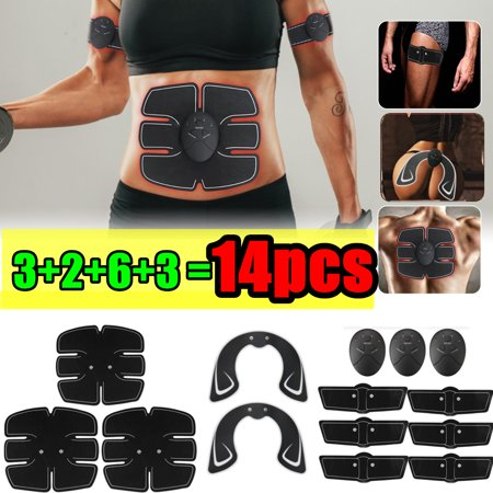 14Pcs/set ABS Stimulator Electric Abdominal Toning Belt Full Body Muscle Exercise Trainer Belt Smart Body Building Fitness For Hip/Abdomen/Arm/Leg (Best Exercise Machine For Toning Abs)