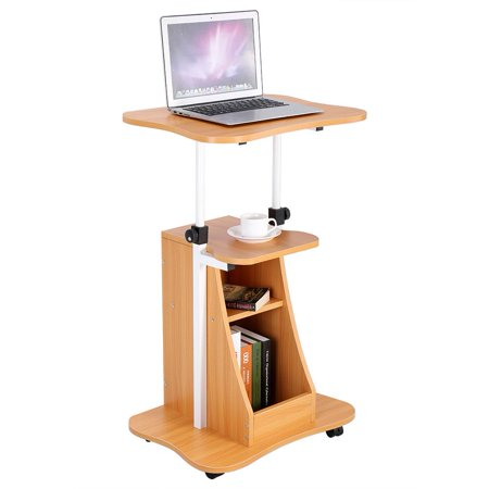 Tbest Height Adjustable Laptop Cart Standing Notebook Desk Table Storage Compartment with Wheel, Notebook Table, Standing Computer