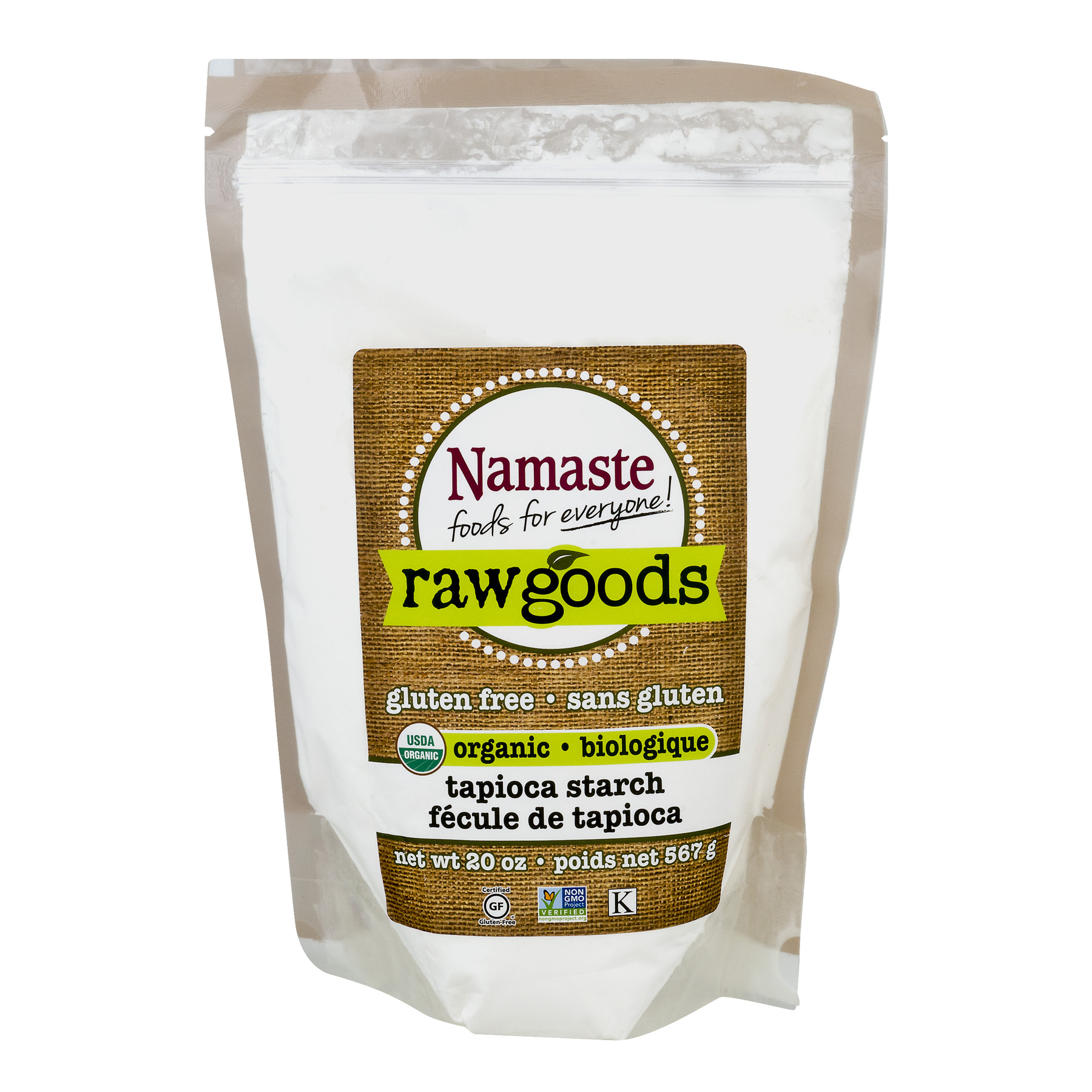 (2 Pack) Namaste Foods Raw Goods Gluten Free Organic Tapioca Starch, 20 oz