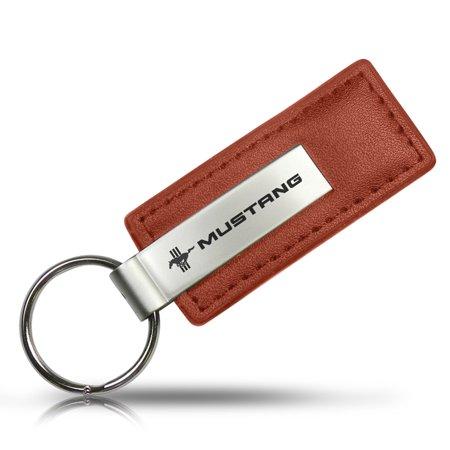 Ford Mustang Tri-Bar Keychain & Keyring - Brown Premium -