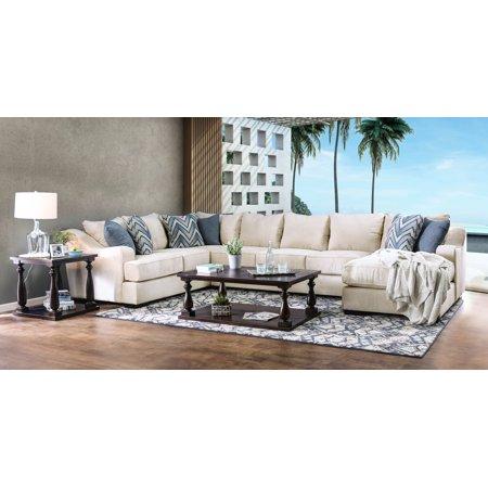 Wondrous Furniture Of America Jonas U Shaped Ivory Sectional Sofa Creativecarmelina Interior Chair Design Creativecarmelinacom