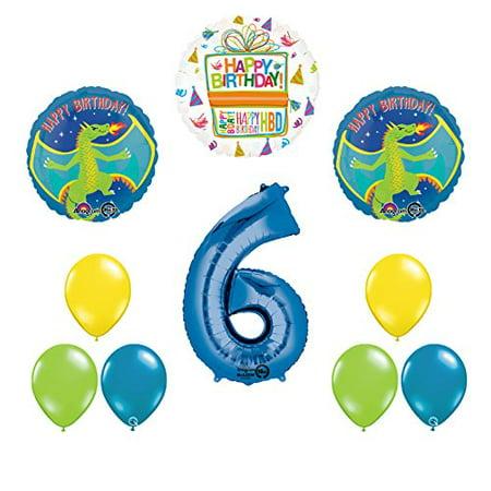 Dragon 6th Birthday Party Supplies and Balloon Decoration - Dragon Balloons