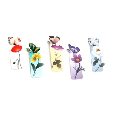 5Pcs Lovely Butterfly Bookmarks Cartoon Book Marks Paper Clip Office School Supply (Heart Paperclip Bookmark)
