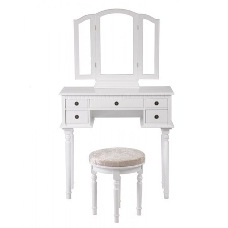 white makeup vanity table set tri folding mirror makeup table with 5 drawers 52. Black Bedroom Furniture Sets. Home Design Ideas