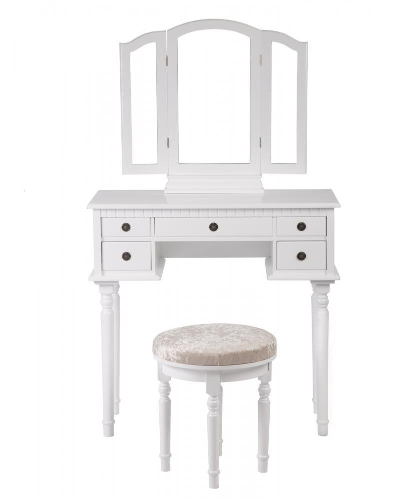 White Makeup Vanity Table Set Tri Folding Mirror Makeup Table With 5  Drawers 52