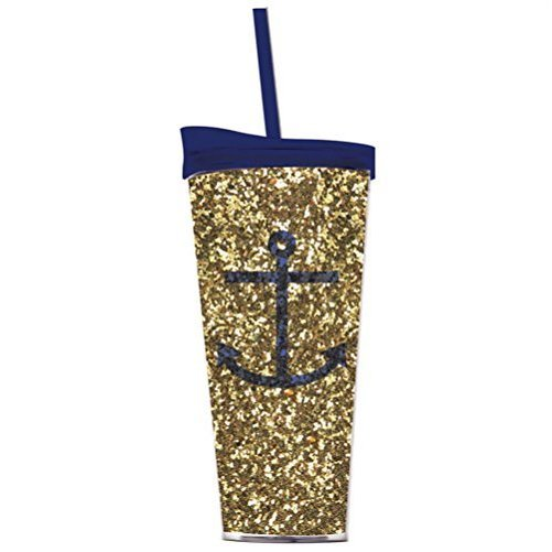 Anchor Gold Glitter Insulated Acrylic Tumbler Lid Straw 22 oz by Slant