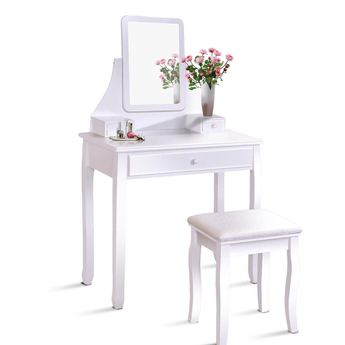 Gymax Bathroom Vanity Dressing Table Set W  3 Storage Boxes by Gymax