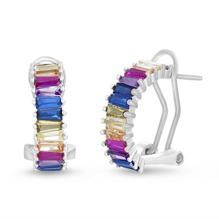 - Multicolored Cubic Zirconia Baguette Post Clip Earring in Sterling Silver