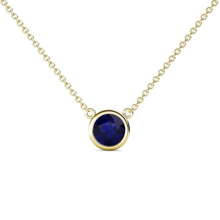 Blue Sapphire 0.73 Carat Bezel Set Women Solitaire Pendant in 14K Yellow Gold with 16 Inches Gold Chain