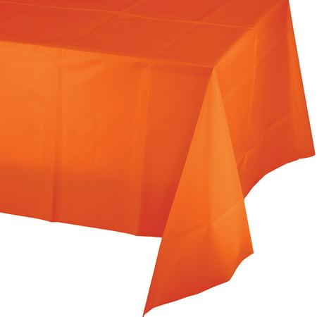 Club Pack of 24 Sunkissed Orange Plastic Tablecloth Tablecover 9'](Orange Plastic Table Cover)
