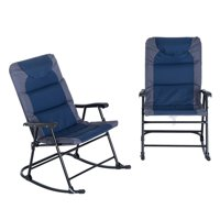 2 Piece Folding Padded Outdoor Camping Rocking Chair Set