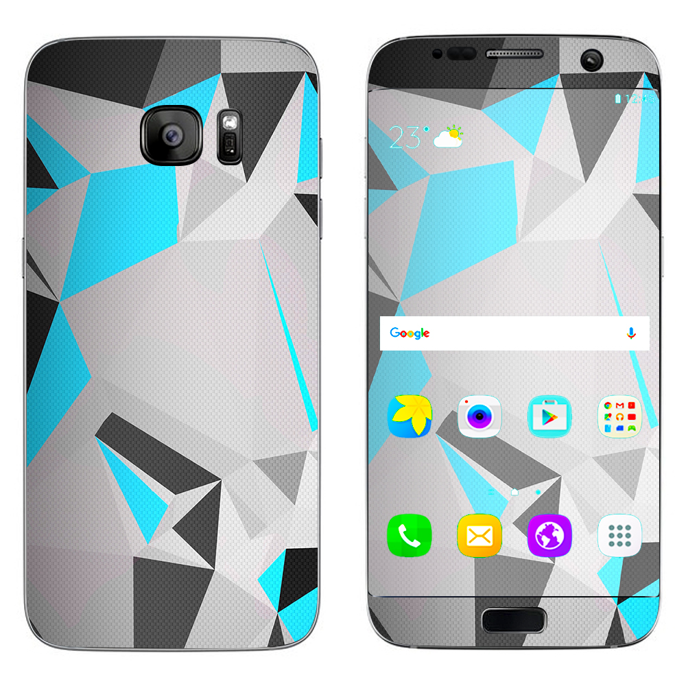Skins Decals For Samsung Galaxy S7 Edge / Baby Blue Grey Glass Design