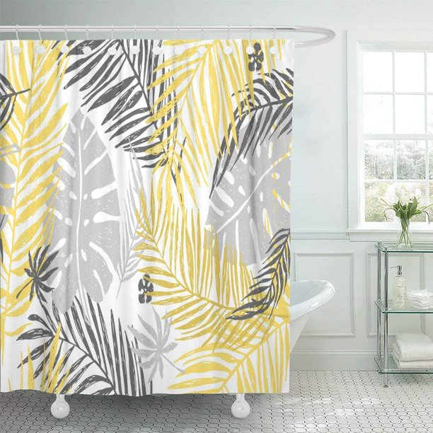 Artjia Gold Exotic Pattern With Yellow, Shower Curtains Gray And Yellow