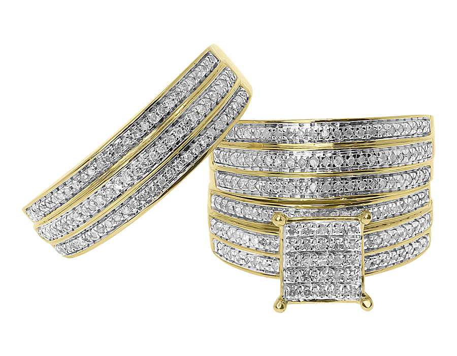 10k Yellow Gold 3 Row Pave Diamond Wedding Trio Ring Set (1.0 ct) by Jewelry Unlimited