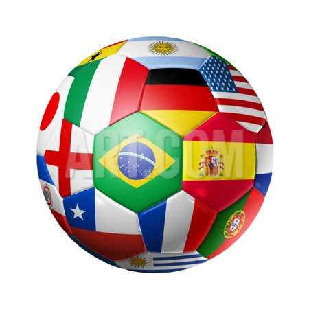 Football Soccer Ball with World Teams Flags Print Wall Art By
