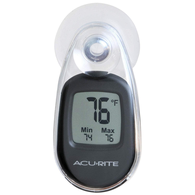 Acurite 00318 Indoor Outdoor Suction Cup Digital Thermometer Black Walmart Com Walmart Com
