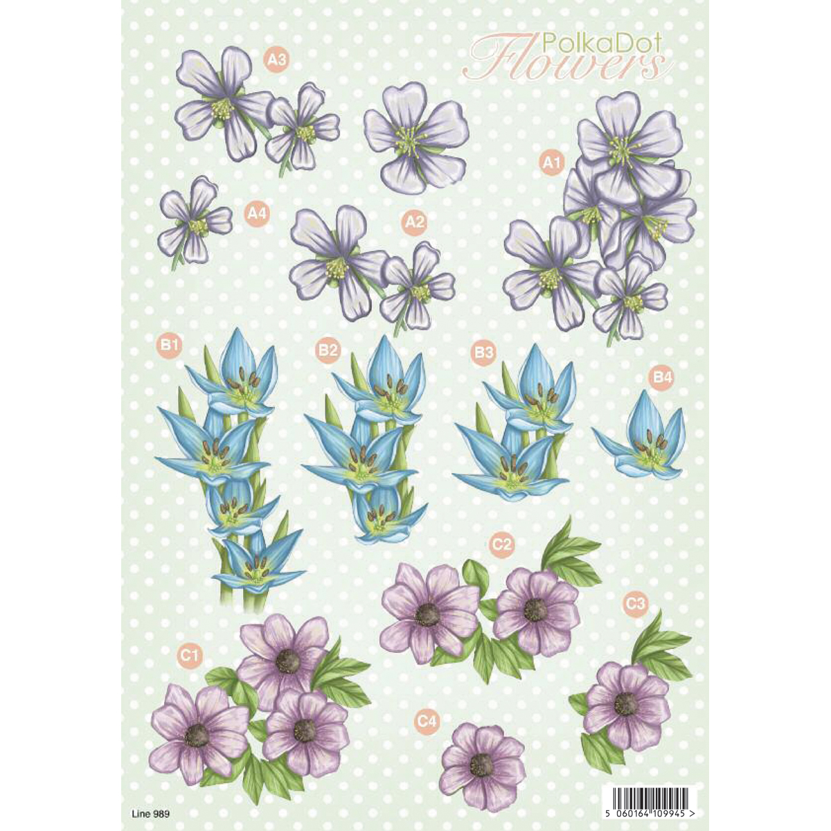 "3D Die-Cut Decoupage Sheet 8.3""X11.69""-Polka Dot Flowers: Violet & Blue"