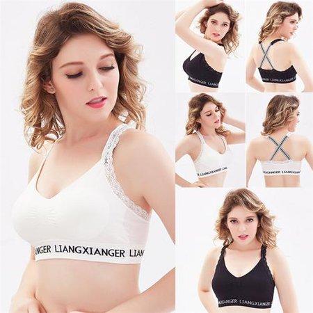 Soft Crop - Sports Gym Yoga Women's Athletic Padded Soft Bra Lace Crop Bra Stretch Underwear Sleeping Vest Padded Bras Wireless Bra Black