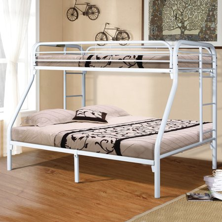 Home Source White Twin Full Bunk Bed