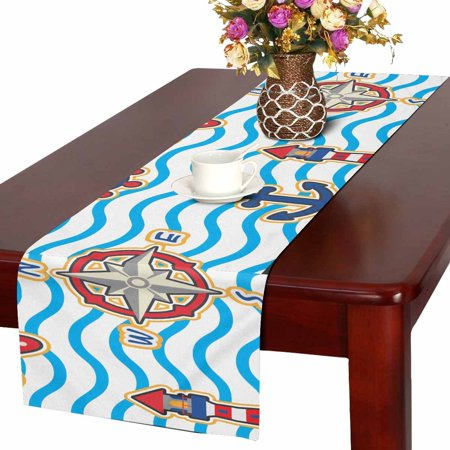 MKHERT Cute Nautical Seamless Pattern Vector Set Table Runner For Wedding Party Decoration Kitchen Decor Decoration 14x72 inch ()