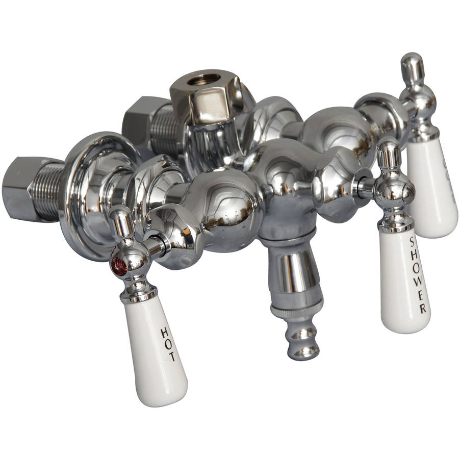 Decor Plumb Vintage Tub Filler with Diverter, Polished Chrome