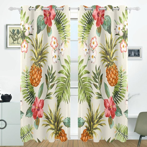 POPCreation Vintage Tropical Flowers With Pineapple Window