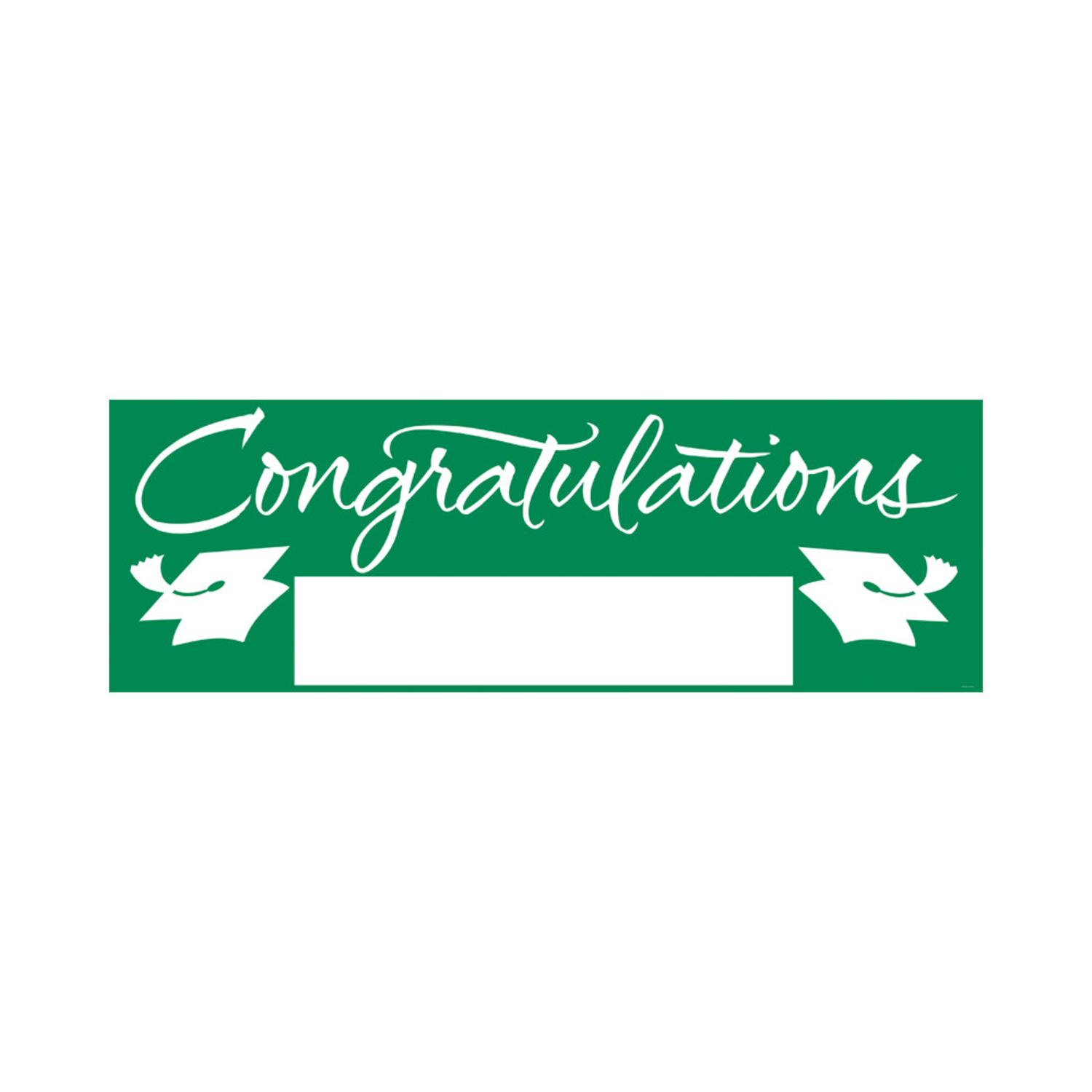 "Pack of 6 Graduation Emerald Green and White ""Congratulations"" Giant Party Banners 60"""