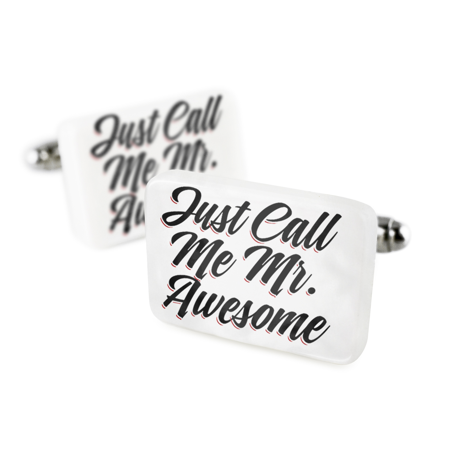 Cufflinks Vintage Lettering Just Call Me Mr. Awesome Porcelain Ceramic NEONBLOND