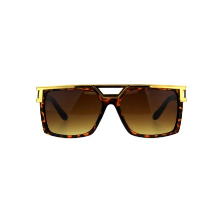 Mens Hip Hop Rapper Plastic Rectangular Luxury Sunglasses Yellow Gold Tortoise ()