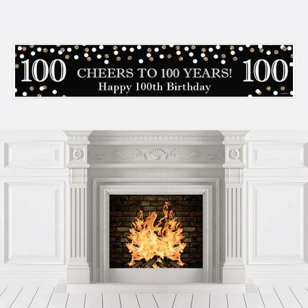Adult 100th Birthday - Gold - Birthday Party Decorations Party Banner](100th Birthday Party Decorations)