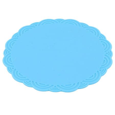 Home Silicone Flower Shaped Heat Resistant Pot Pad Bowl Cup Mat Blue 10.3cm