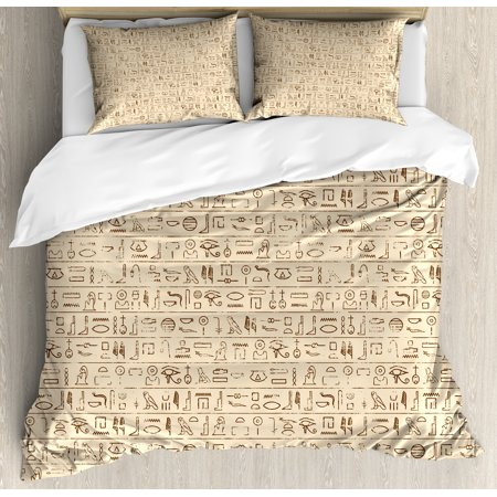 Border Bedding - Egyptian Queen Size Duvet Cover Set, Old Dated Hieroglyphics Ancient Language Hand Written Style Borders with Worn Look, Decorative 3 Piece Bedding Set with 2 Pillow Shams, Tan Brown, by Ambesonne