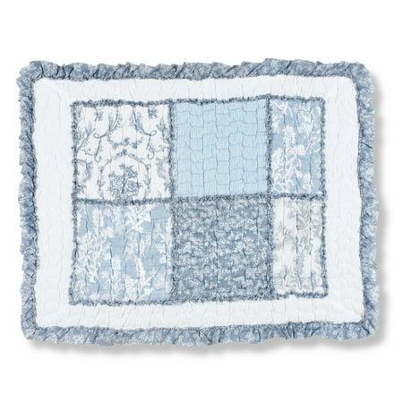 Hillside Cottage Blue Floral Patchwork Bed Pillow Sham with Ruffled Edge, Sham, Blue