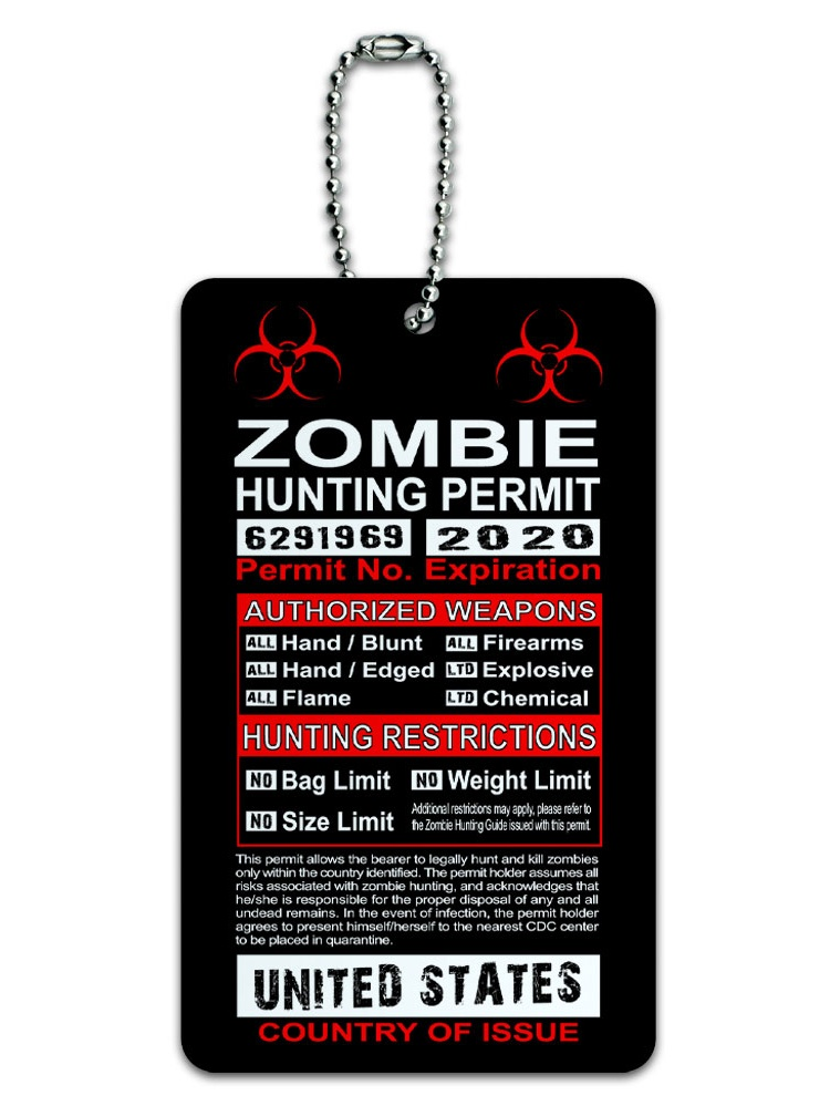 Graphics and More United States Zombie Hunting License Permit ID Card Luggage Tag