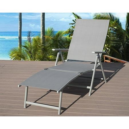 Miraculous Kozyard Cozy Aluminum Beach Yard Pool Folding Reclining Adjustable Chaise Lounge Chair Gray 1 Pack Gmtry Best Dining Table And Chair Ideas Images Gmtryco