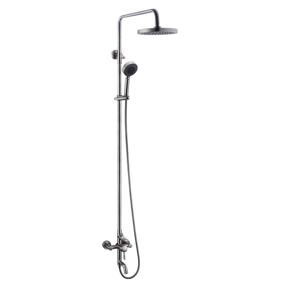 KES Bathroom SUS304 Stainless Steel Faucet Showering System Lead-Free with Rainfall Shower Head Adjustable Shower Bar Wall Mount DOUBLE FUNCTION, Brushed, ...
