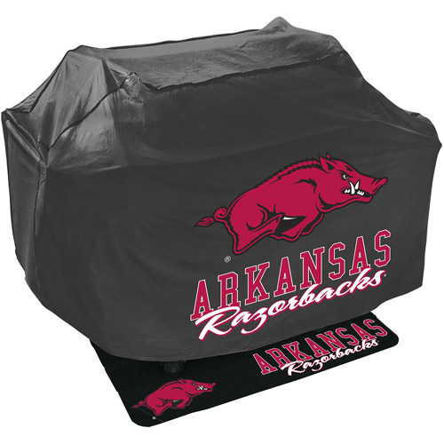 Mr. Bar-B-Q NCAA Grill Cover and Grill Mat Set, University of Arkansas Razorbacks