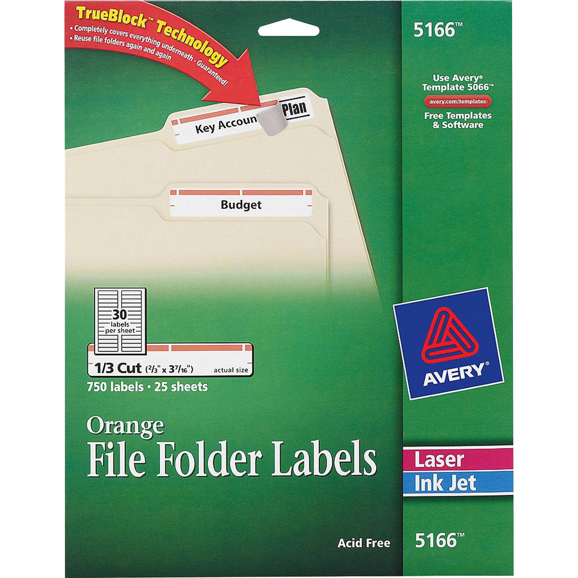 Avery Permanent File Folder Labels, TrueBlock, Inkjet/Laser, Orange Border, 750/Pack