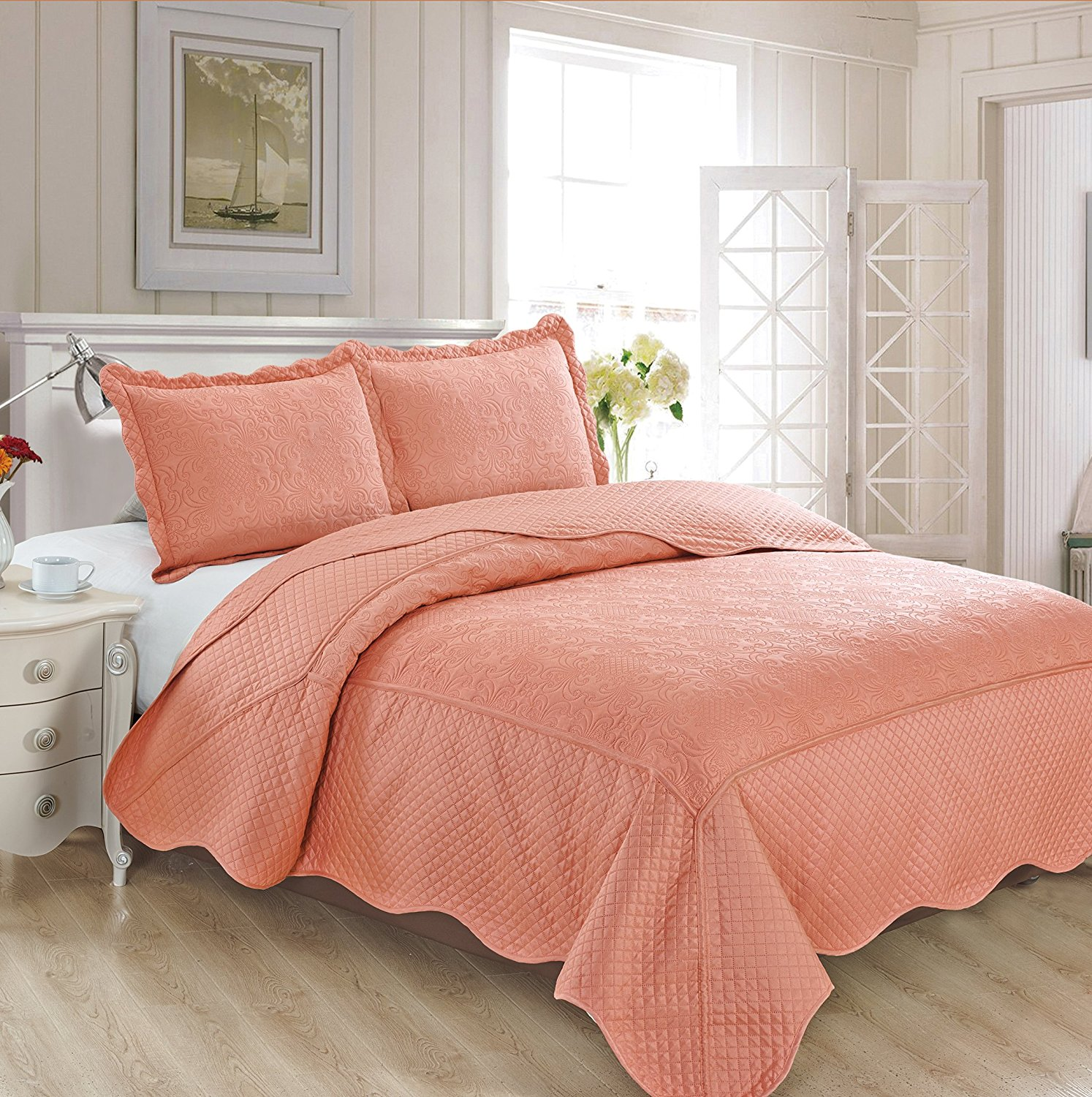"Fancy Collection 3pc Luxury Bedspread Coverlet Embossed Bed Cover Solid Coral New Over Size Full/Queen 100"" x106"" #Veronica"