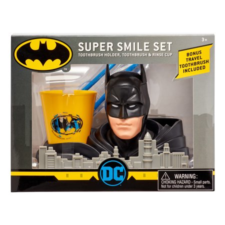 Batman 3-Piece Super Smile Toothbrush and Toothbrush Holder Set