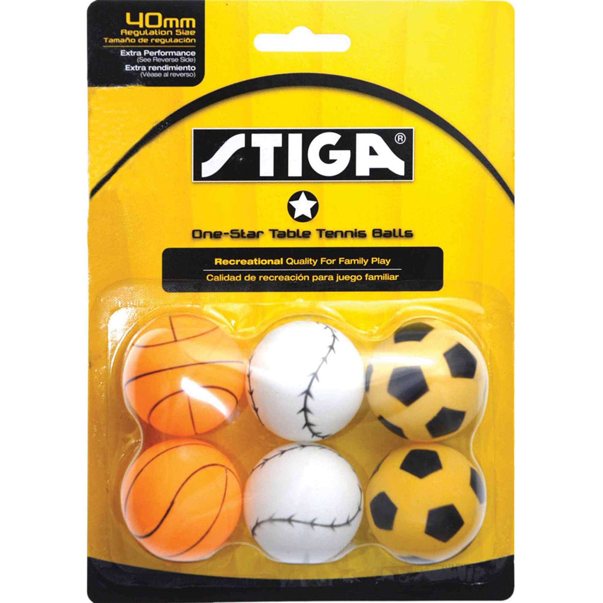 STIGA 1-Star Sport Table Tennis Balls, 6pk