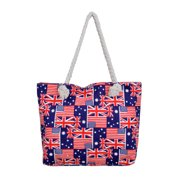 Union Jack Usa Uk British American Flag Print Canvas Tote Shoulder Bag Handbag