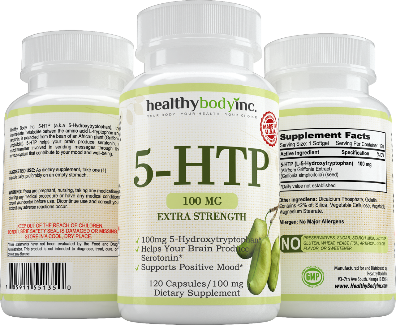 5-HTP Extra Strength Dietary Supplement, Supports Positive Mood