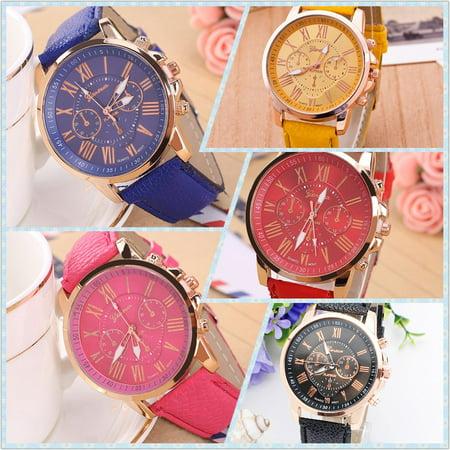 Environmental Friendly Fashion Brand Men Male Casual Stylish Romen Numerals Faux Leather Quartz Watch Montre Watches Black - image 5 of 6
