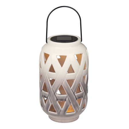 Mainstays Geo Triangle Solar Powered Ceramic Lantern ()