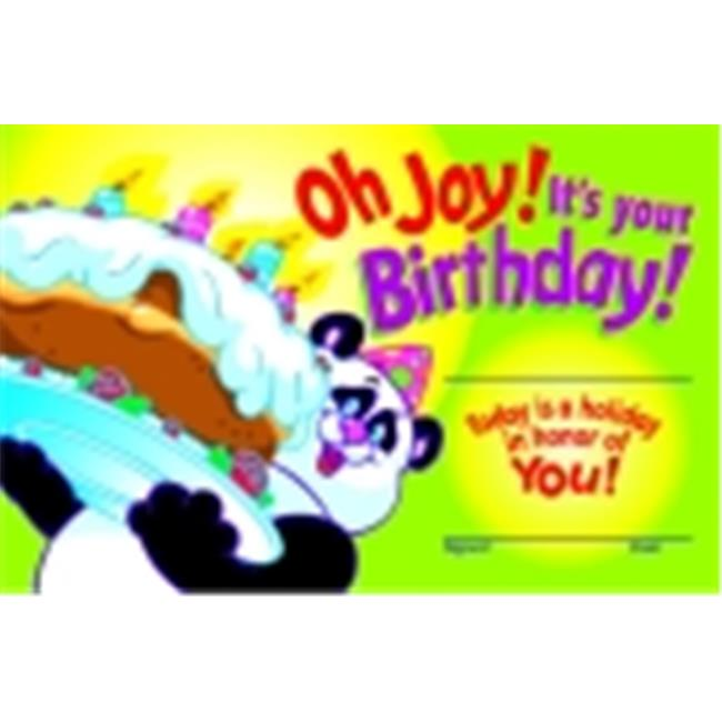 Trend Enterprises Oh Joy It Is Your Birthday Recognition Award, Pack - 30